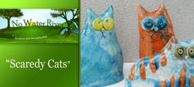 """Scaredy Cats"" by Renee LaTulippe, ceramics by Deborah Ciolli"