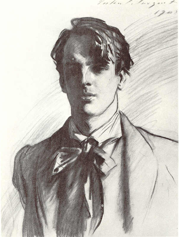 William Butler Yeats by John Singer Sargent, 1908. Public domain.