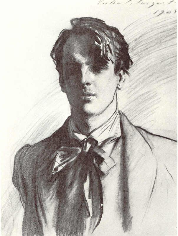 William Butler Yeats by John Singer Sargent, 1908. Public domain.