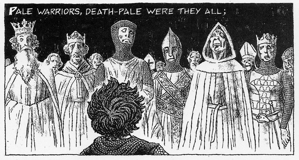 "Detail of poetry comic for ""La Belle Dame Sans Merci"""