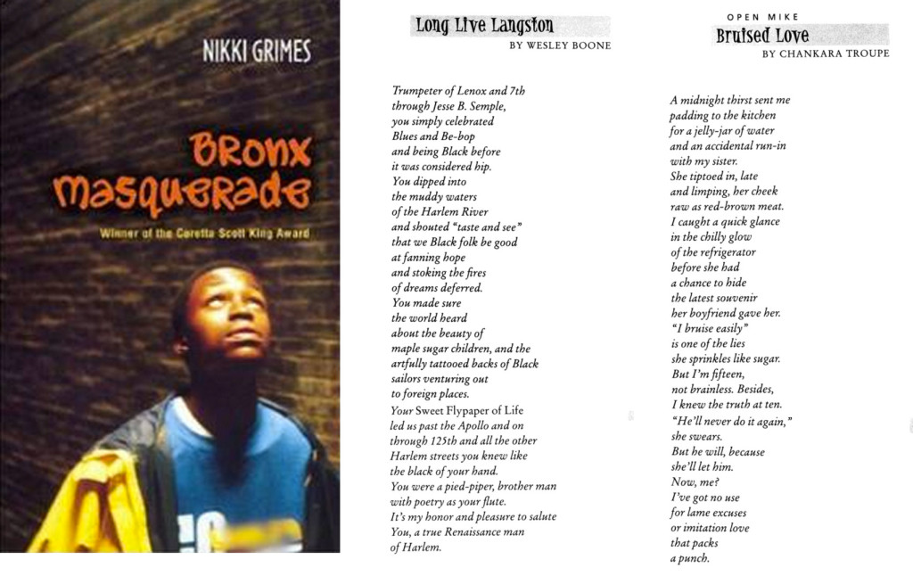 bronx masquerade by nikki grimes this In this lesson you will find a summary of the book 'bronx masquerade' by nikki  grimes it is a marvelous, poetic description of the struggles.